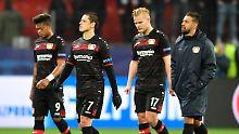 Und nun? Die Leverkusener Leon Bailey, Javier Hernandez, Joel Pohjanpalo und Karim Bellarabi.