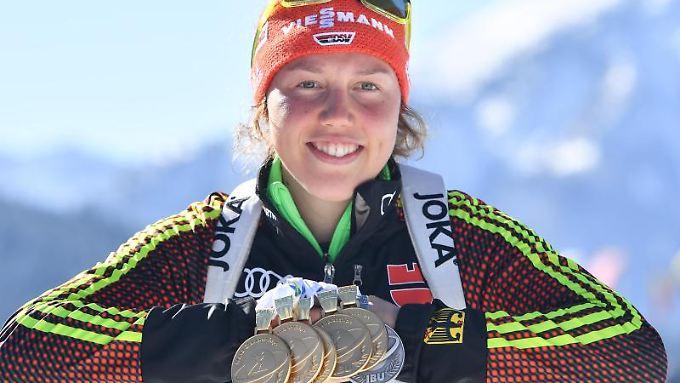 Biathlon-Königin Laura Dahlmeier will im kommenden Jahr ähnlich erfolgreich sein.