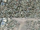 Ein Satellitenfoto der UN zueigt die Stadt Sur in der Provinz Diyarbakir im Juni 2015 (oben) und im Juli ein Jahr später.
