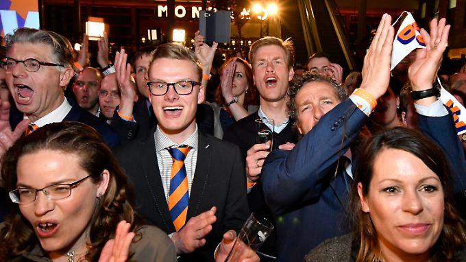 Bei der Wahlparty von Rutte war die Stimmung ausgelassen.
