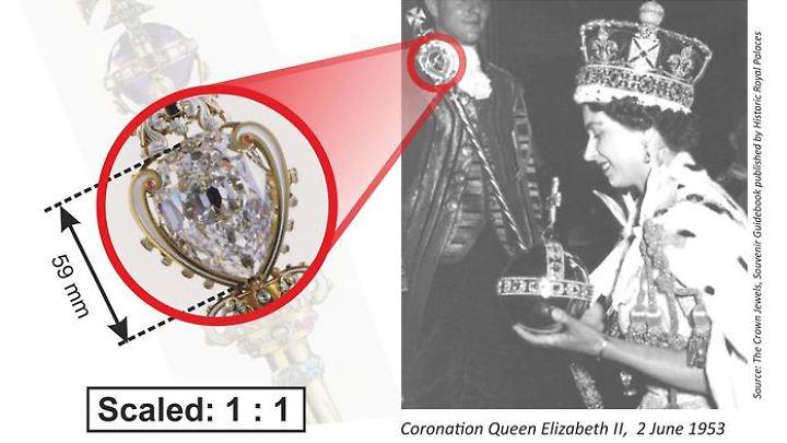 Der Cullinan I sitzt auf dem Zepter der Kronjuwelen der britischen Königin.