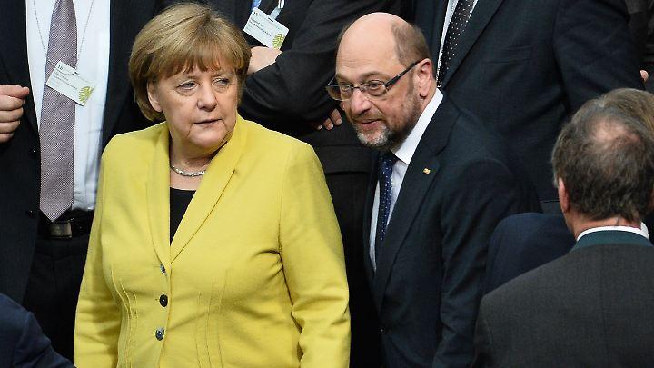 Konkurrenten bei der Bundestagswahl 2017: Merkel und Schulz im Februar.