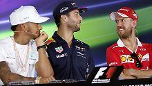 Voller Vorfreude auf das Wochenende: Lewis Hamilton, Daniel Ricciardo und Sebastian Vettel (v.l.).