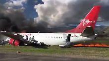 141 Passagiere gerettet: Flugzeug geht in Peru in Flammen auf