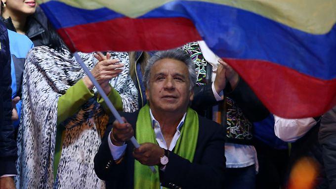 Zeigte sich schon vor Bekanntwerden des endgültigen Ergebnisses siegessicher: Lenín Moreno