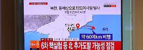 Im südkoreanischen Fernsehen ist zu sehen, wo die Rakete ins Meer einschlug.