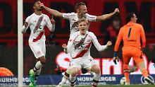 Na, es geht doch: St. Paulis Spieler jubeln über den Sieg in Nürnberg.