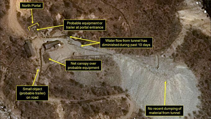 Das mutmaßliche Atomtestgelände in Nordkorea wird regelmäßig von Satelliten überflogen, die Fotos schießen, um Veränderungen zu beobachten.