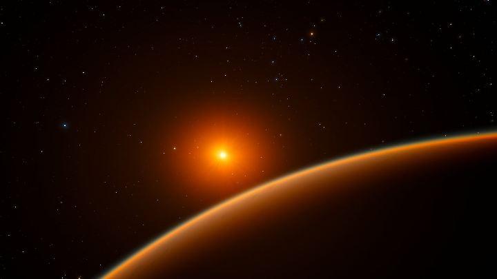Die Darstellung zeigt den Exoplaneten LH 1140b, der um seinen Stern kreist.