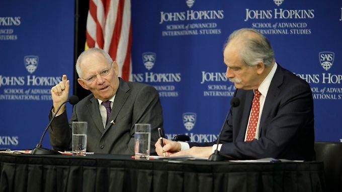 Schäuble war in Washington auch bei einer Veranstaltung der Johns Hopkins University