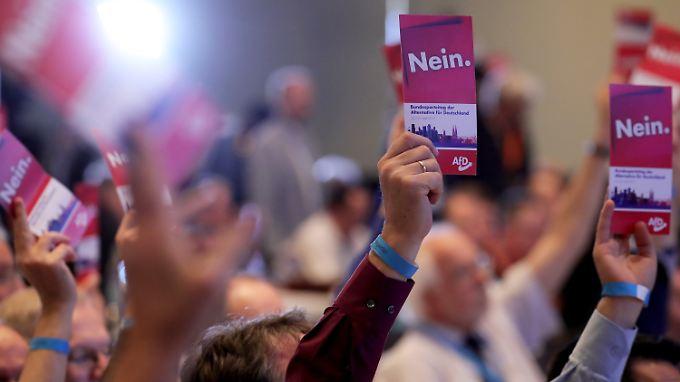 Nein - unter anderem - zu Flüchtlingen, erneuerbaren Energien und Gleichberechtigung Homosexueller heißt es im AfD Wahlprogramm.