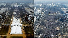 Trumps Amtseinführung links, Obamas Inauguration rechts.