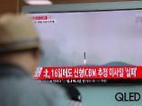 Bericht über den Raketentest im südkoreanischen Fernsehen.