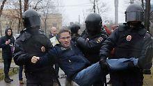 """""""Wir haben ihn satt"""": Festnahmen bei Anti-Putin-Protesten"""