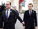 Gemeinsame Zeremonie: Macron und Hollande erinnern an Kriegsende