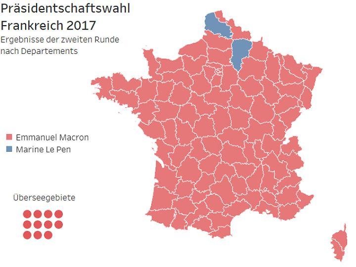 Frankreich nach der Stichwahl: Die Euro-Skeptiker um Marine Le Pen erringen nur in zwei Departements die Mehrheit.