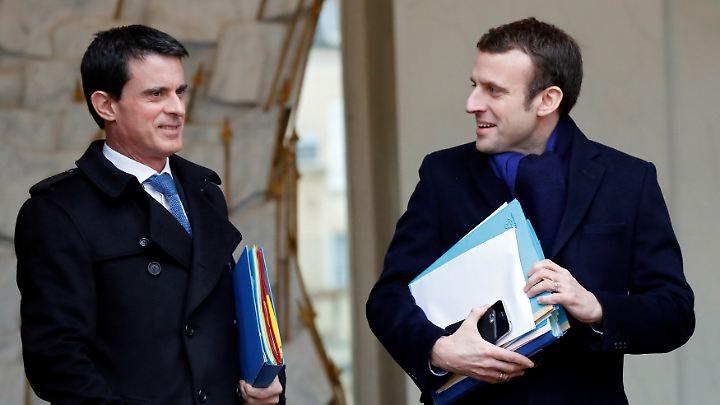 Der frühere Premierminister Manuel Valls (l.) möchte sich der En Marche-Bewegung von Macron anschließen.