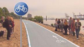 Beton statt Sandstrand in Hamburg?: Kurioser Radweg sorgt für Kopfschütteln