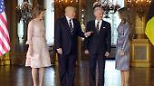 ... First Lady Melania fand sich plötzlich an der Seite König Philippes wieder statt an der ihres Mannes.