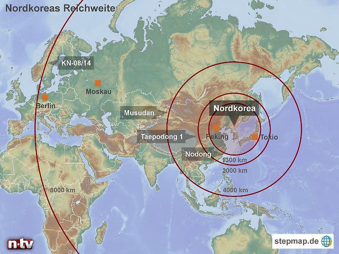 Reichweiten verschiedener nordkoreanischer Raketensysteme (vereinfachte Darstellung).