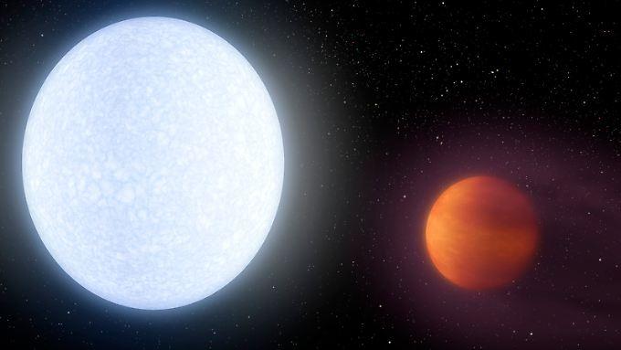 Der Stern KELT-9 und sein super-heißer Planet KELT-9b in einer grafischen Darstellung.