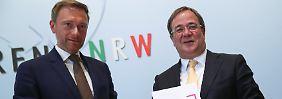 Christian Lindner und Armin Laschet stellen mit ihren Parteien FDP und CDU die künftige Landesregierung von Nordrhein-Westfalen.
