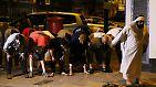 Eine Gruppe von Gläubigen ist nach dem Abendgebet vor der Finsbury-Park-Moschee im Norden der britischen Hauptstadt unterwegs.