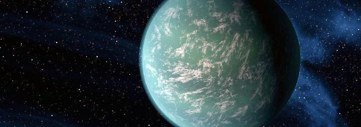 Kepler-22b in einer künstlerischen Darstellung: Er war der erste bestätigte Exoplanet der Kepler-Mission, der sich in der habitablen Zone um seinen Stern bewegt. Das war 2011.