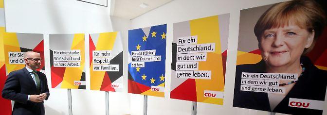 Schwarz-rot-goldene Kampagne: Mit diesen Plakaten will Merkel die Wahl gewinnen
