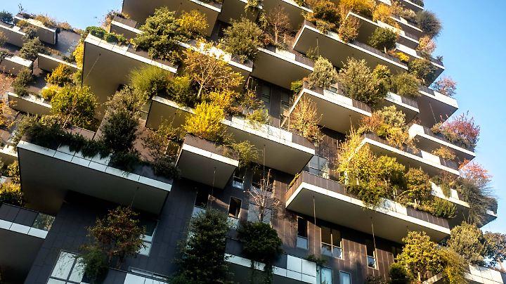 """Der """"vertikale Wald"""" in Mailand: 900 Bäume begrünen zwei Hochhäuser und tragen zu einem besseren Mikroklima bei."""