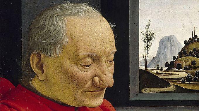 Das Bild von Domenico Ghirlandaio (1488) zeigt einen Großvater mit seinem Enkel.  Das Rhinophym des alten Mannes ist auf dem Bild nicht rot dargestellt.