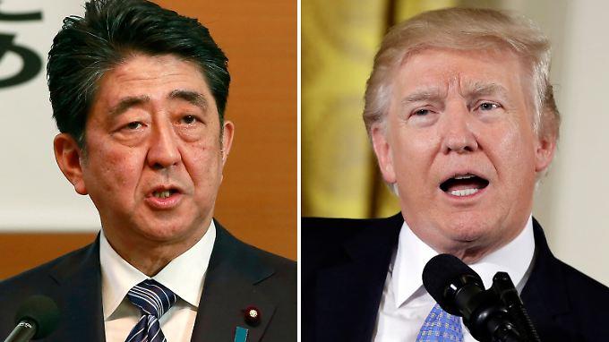 Japans Premier Shinzo Abe (li.) und US-Präsident Donald Trump sind sich im gemeinsamen Vorgehen gegen Nordkorea einig.