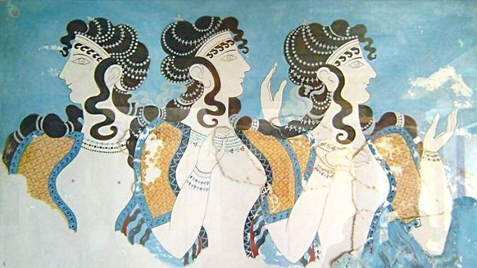 Das Fresco mit Frauenbildnissen stammt aus der minoischen Hochkultur und wurde in Knossos gefunden.