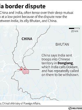 Die umstrittene Region ist in China als Donglang- und in Indien als Doklam-Ebene bekannt.