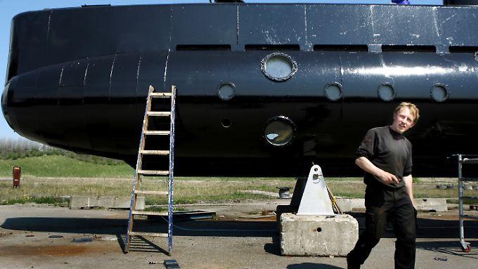 Peder Madsen mit seinem U-Boot (2008).