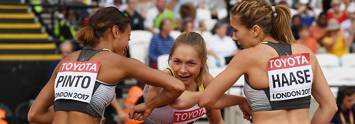 War trotzdem gut: Tatyana Pinto, Gina Lückenkemper und Rebekka Haase.