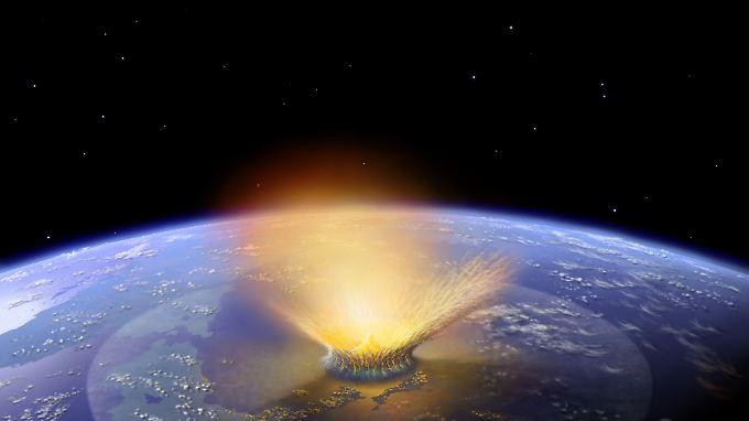 Die Grafik zeigt den Einschlag eines Asteroiden auf der Erde vor rund 66 Millionen Jahren.