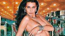 Nicht kleckern, sondern klunkern: Bella Hadid zieht blank