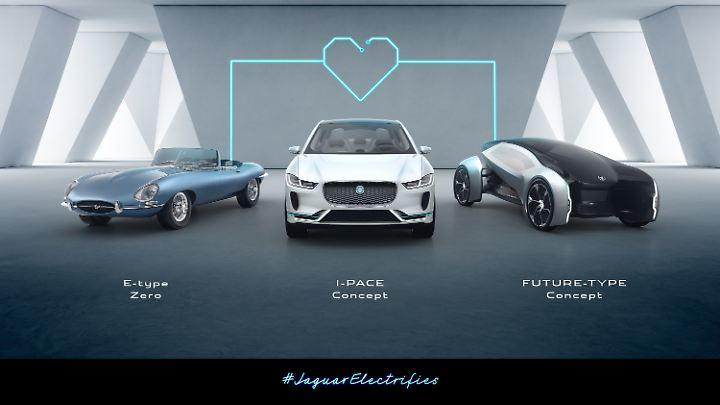 Die Jaguar-Familie über die Zeiten elektrisiert.