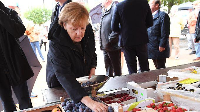 Tomaten und Pflaumen für Zuhause: Merkel kauft in Barth zunächst ein.