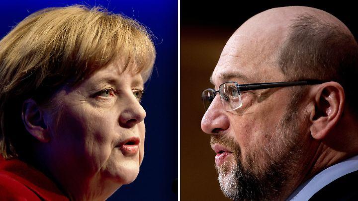 Wenn am Sonntag Bundestagswahl wäre, würden 48 Prozent für Merkel und 22 Prozent für Schulz stimmen.
