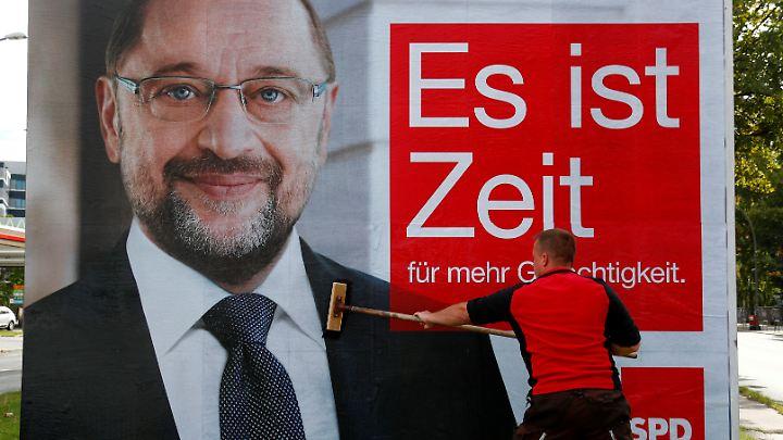 Eines der weit verbreiteten Großflächenplakate von Kanzlerkandidat Schulz