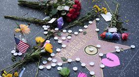 Blumen für Tom Petty an seinem Stern auf dem Hollywood Walk of Fame.