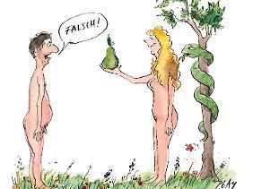 """""""Der Apfel ist seit jeher ein Symbol der Liebe – kein Wunder! Mit den Gerichten, die man daraus zaubern kann, erobert man jedes Herz im Sturm!"""" , schreibt Léa Linster. (Illustration: ©Peter Gaymann)"""