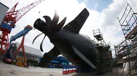 """Antriebspropeller von """"U36"""", einem von Thyssen Krupp für die deutsche Marine gebauten U-Boot der Klasse 212A"""
