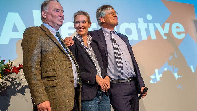 Die AfD verändert die deutsche Politik: die Fraktionsvorsitzenden Alexander Gauland und Alice Weidel mit Parteichef Jörg Meuthen (v.l.).