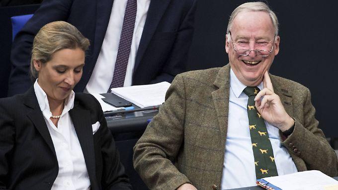 Fraktionsführer in guter Laune: Alice Weidel und Alexander Gauland im Bundestag