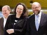 Einer wird gewinnen: Scholz, Nahles und Schulz.