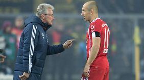 Heynckes und Bayern-Star Robben: Der Niederländer traf gegen den BVB und lobte nach dem Spiel den Trainer.