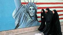 Wandbild in Teheran. Laut des Bin Laden-Dokuments stellt die Feindschaft gegen Amerika eine Gemeinsamkeit zwischen Al-Kaida und Iran dar.